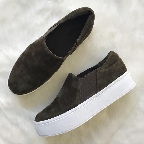 Vince. Woman Satin Platform Slip-on Sneakers Army Green Size 36.5 Vince wBv9jevl